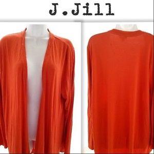 J. Jill Stretch Orange Draped Ultrafine Cardigan